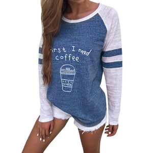 Round Neck Letter Coffee Cup Printed Long sleeve T shirt-Sunshine's Boutique & Gifts