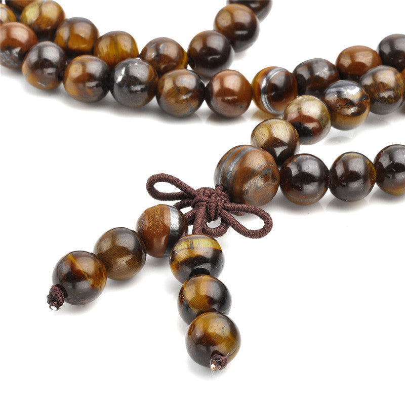 Tibetan Buddhist Mala Natural Tiger Eye Gem Stone Bead Dual-use Necklace Bracelet-Sunshine's Boutique & Gifts