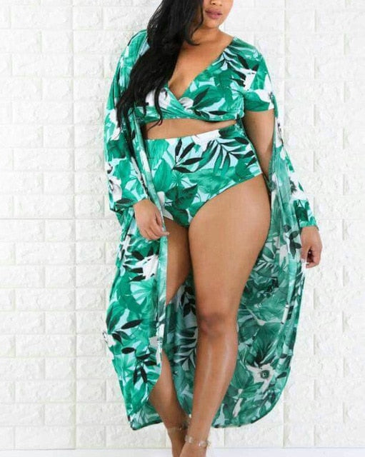 Plus Crop Top High Waist Tropical Print Swimsuit With Cover-Up-Sunshine's Boutique & Gifts