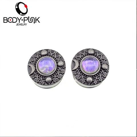 1Pair Burnished Sliver Star Moon Galaxy With Irridescent Opal Plug