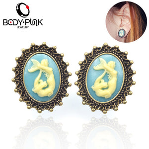 3D Mermaid Stainless Steel Ear Gauge-Sunshine's Boutique & Gifts