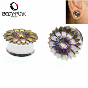 Sunflower Stainless Steel Ear Plugs 6-20mm-Sunshine's Boutique & Gifts