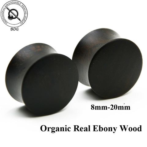 BOG-1 Pair Real Natural Ebony Wood Double Flared Gauges