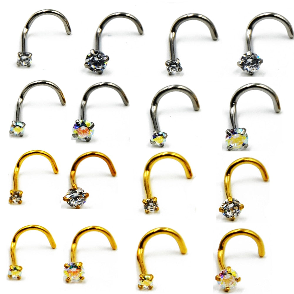 1piece 20g/18g Prong Set Nose Screw Ring-Sunshine's Boutique & Gifts