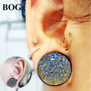 BOG- PAIR Druzy Double Flared Wood Flesh gauges 8-18mm-Sunshine's Boutique & Gifts