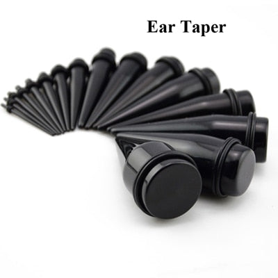 BOG-Pair Black Acrylic Ear Plugs 4-25mm-Sunshine's Boutique & Gifts
