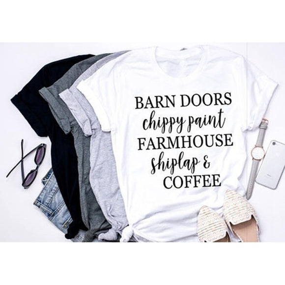 Barn Doors, Chippy Paint, Farmhouse, Shiplap, Coffee, Women T-Shirt-Sunshine's Boutique & Gifts