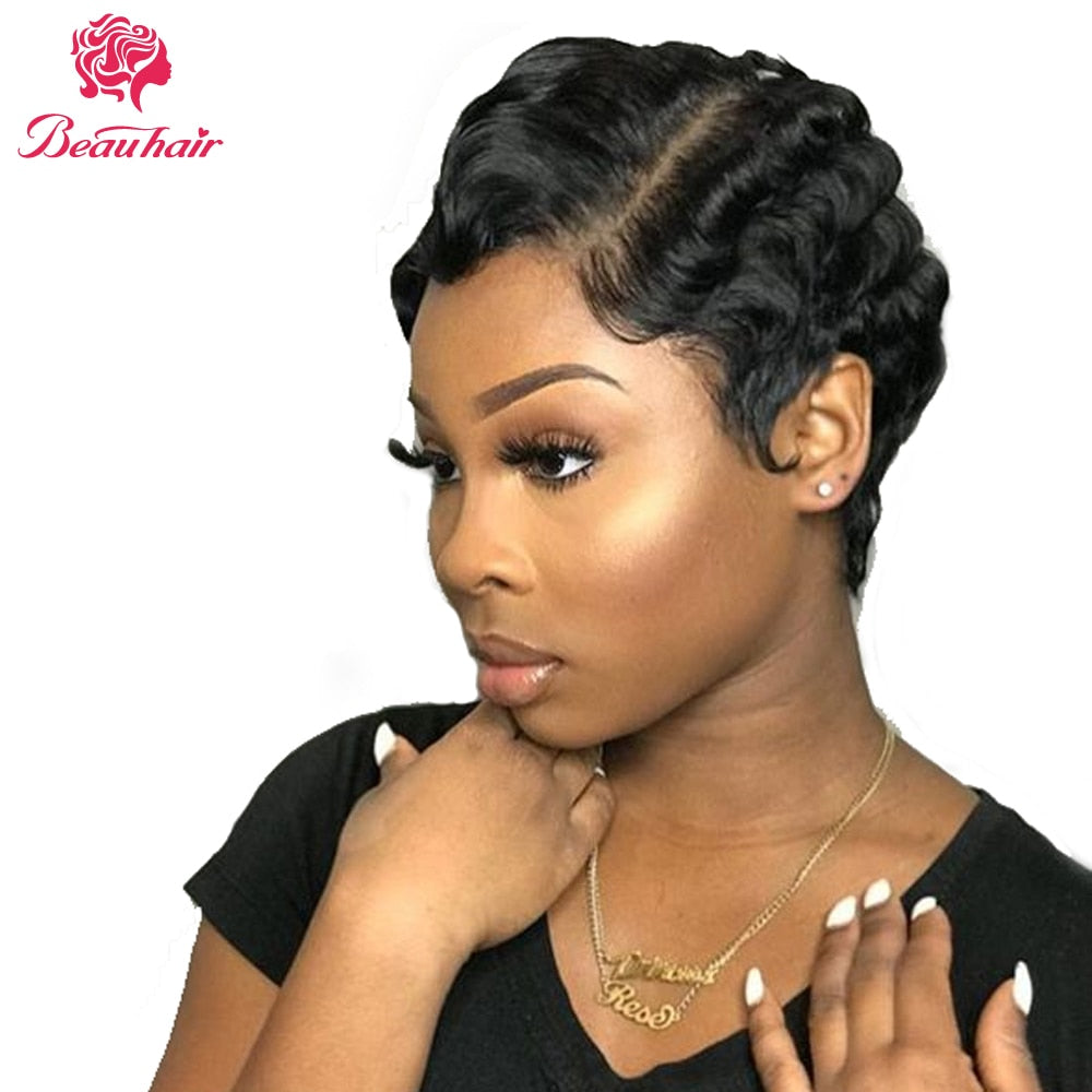 Hepburn Style Finger Wave Short Lace Human Hair