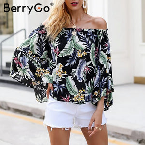Bohemian off shoulder floral print blouse-Sunshine's Boutique & Gifts