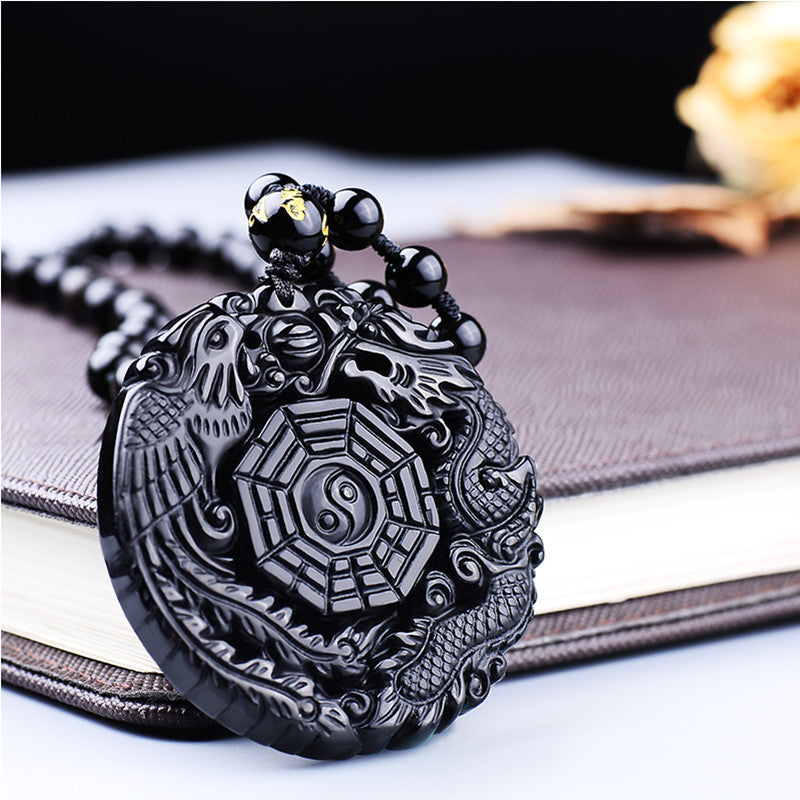 Black Obsidian Carving Dragon and Phoenix Necklace