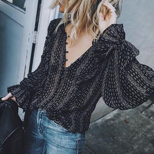 Black Retro Boho Hippie Balloon Sleeve Loose Blouses-Sunshine's Boutique & Gifts