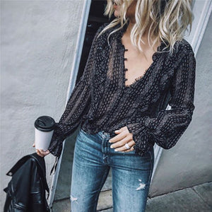 Black Retro Boho Hippie Casual Long Sleeve Shirts-Sunshine's Boutique & Gifts