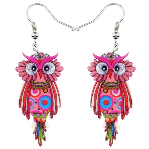 Dangle Drop Owl Earrings-Sunshine's Boutique & Gifts