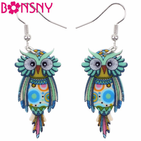 Dangle Drop Owl Earrings