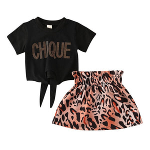 Short Sleeve Letter Printed T-shirt + Skirt