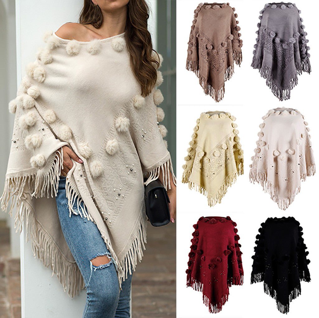 Women O-Neck Solid Hairball Tassel Cloak