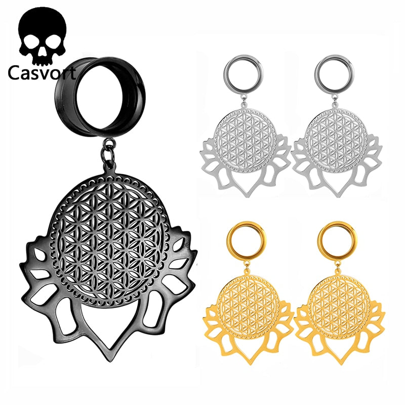 Fashion flower of life 316L Stainless Steel Ear Plug-Sunshine's Boutique & Gifts