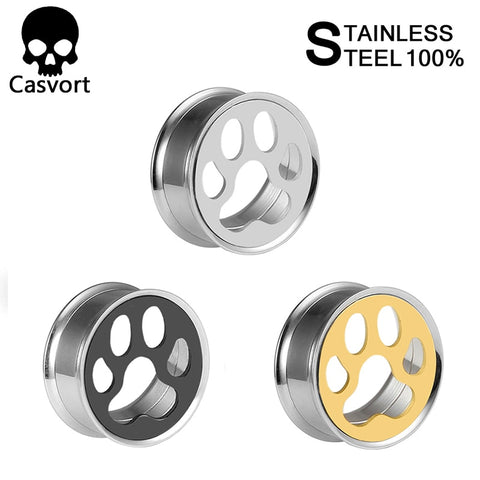 Stainless steel ear plugs double flared