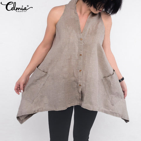 Sleeveless Casual Asymmetric Halter Shirt Tunic