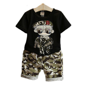 Kids Short Sleeves T-Shirt + Camouflage Shorts Sets-Sunshine's Boutique & Gifts