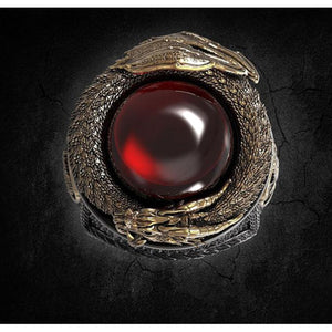 Classic Men Red Crystal Stainless Dragon Ring