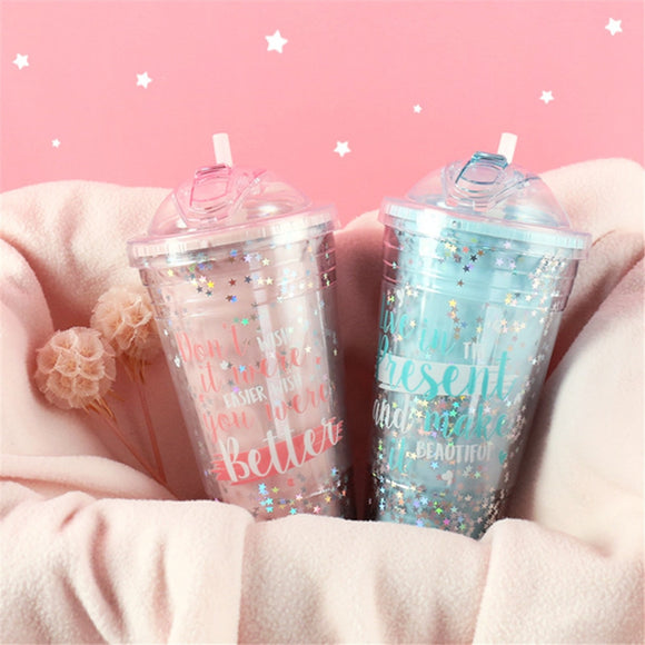 Creative Sequin Star BPA Free Plastic Water Bottle With Straw