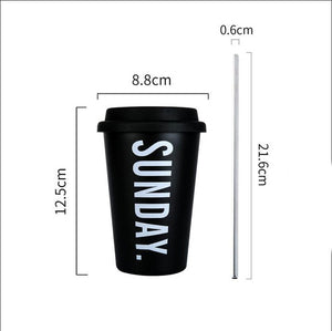 Thickened Stainless Steel Coffee Mug With Lid Straws 350ml-Sunshine's Boutique & Gifts