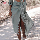 Cotton Solid Tassel Wrap Skirt-Sunshine's Boutique & Gifts