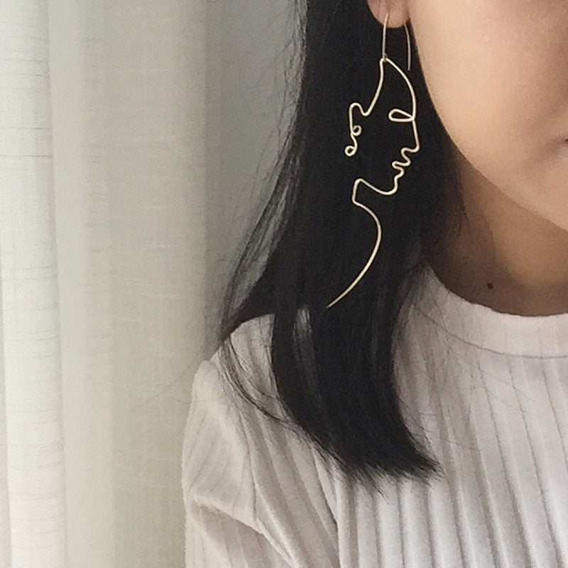 Cosstore Unique Charming Gold/Silver Filled Face Dangle Wire Earrings-Sunshine's Boutique & Gifts