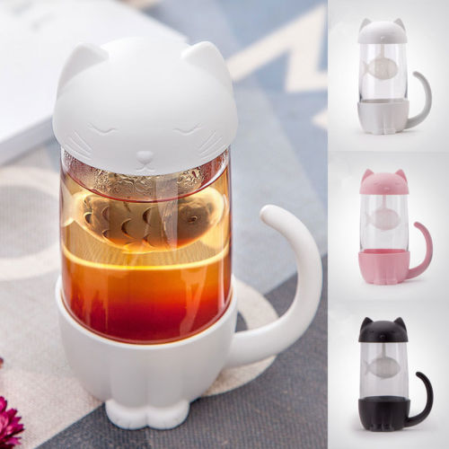 Cute Cat Glass Tea Mug With Infuser Strainer Filter