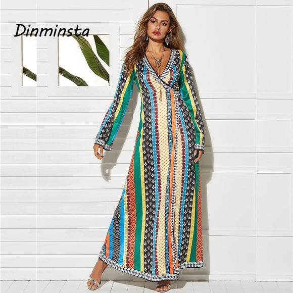 Women Full Sleeves Summer Maxi Sundress-Sunshine's Boutique & Gifts