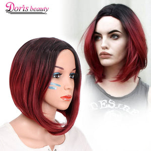Ombre Red Bob Wigs Synthetic Short Heat Resistant Fiber-Sunshine's Boutique & Gifts