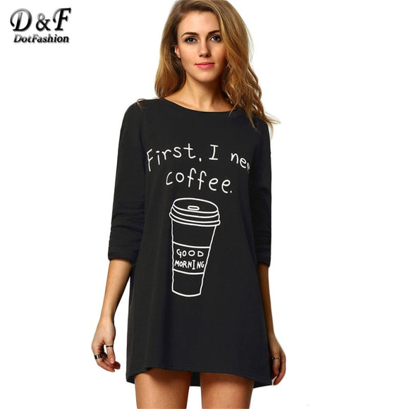 Black Round Neck Long Sleeve Coffee Print Tees-Sunshine's Boutique & Gifts