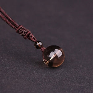 Obsidian Ethnic Crystal Ball Necklae-Sunshine's Boutique & Gifts