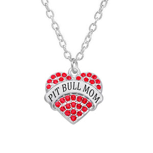 Crystal Stone Charm Hearts Pit Bull Mom Necklae-Sunshine's Boutique & Gifts