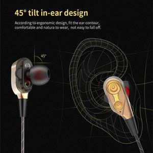 Dual Drive Wired In-ear earphones wire Bass with mic 3.5MM-Sunshine's Boutique & Gifts