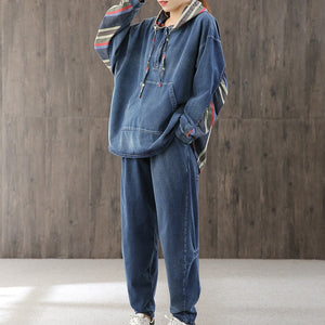 Denim patchwork vintage two piece