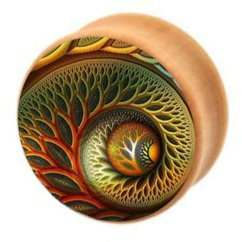 Wood Spiral Flesh Ear Plugs