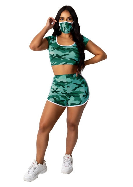 Camouflage Hooded Tracksuit With Mask