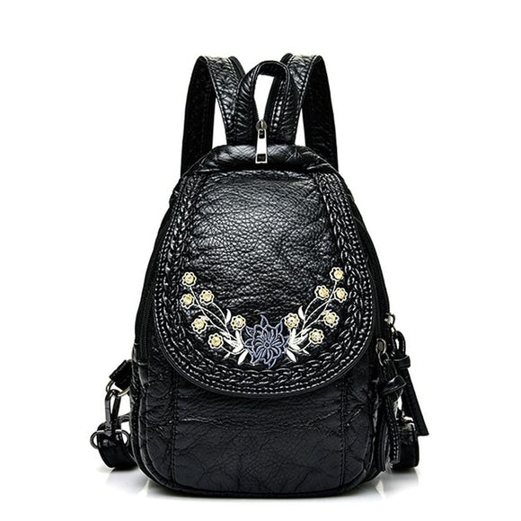 Embroidery Flowers Women Backpack-Sunshine's Boutique & Gifts
