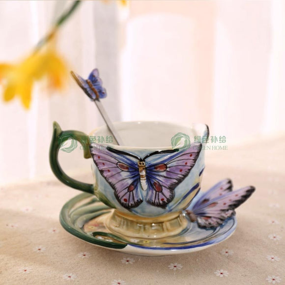 European Style Ceramic Hand-painted Butterfly Coffee Cup
