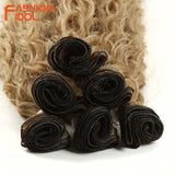 Afro Kinky Curly Hair Bundles Extensions With Closure  Synthetic Wave Hair