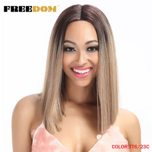 Straight Synthetic Hair Lace Front And T Part Wig 14 Inch Wigs Blue Ombre-Sunshine's Boutique & Gifts