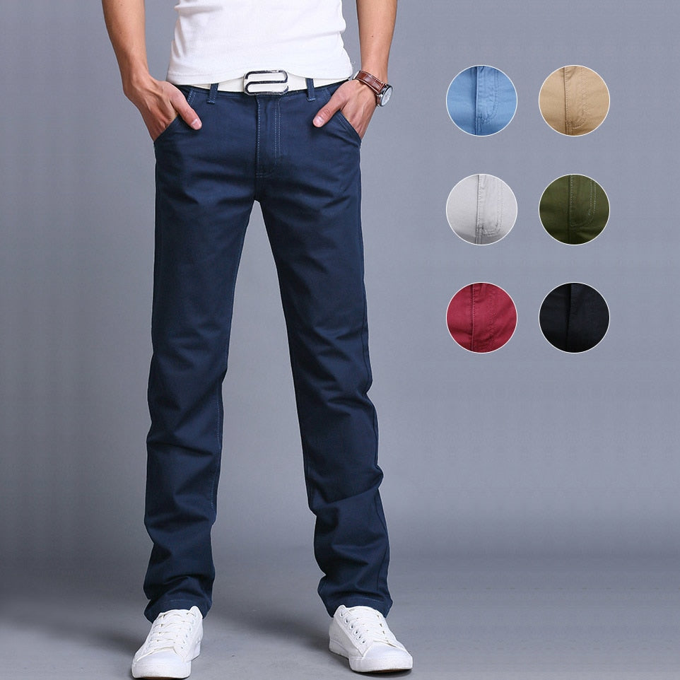 Fashion Men Business Casual Pants Cotton Slim Straight Trousers Spring Summer Long Pants-Sunshine's Boutique & Gifts