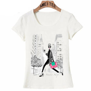 New York as a backdrop hot cup of coffee design T-Shirt-Sunshine's Boutique & Gifts