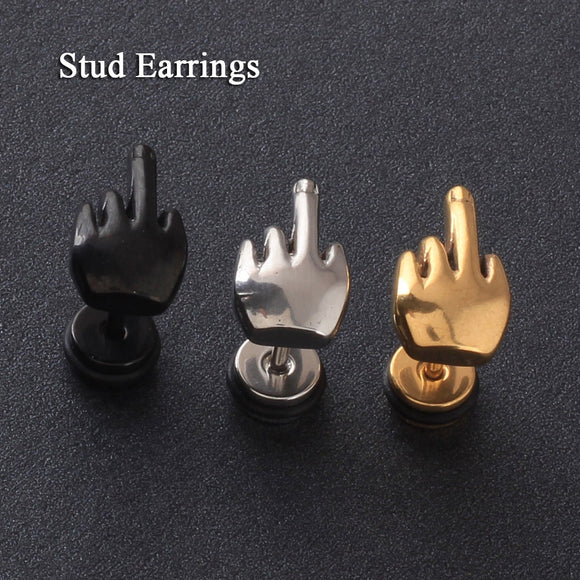 Middle finger Shape men earrings-Sunshine's Boutique & Gifts