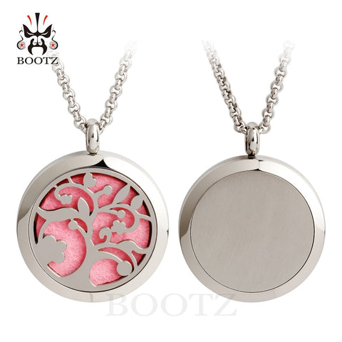 Fashion Round Tree of Life Stainless Aromatherapy Essential Oil Diffuser Locket Necklace