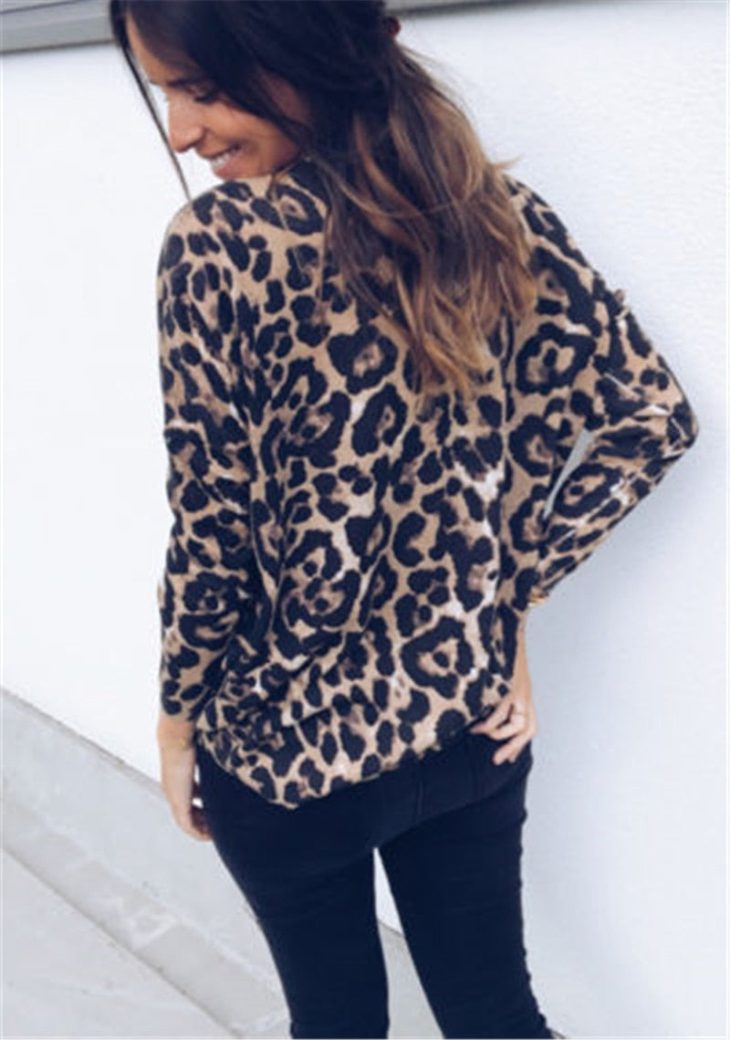 Fashion stretchable Leopard V Neck Tops-Sunshine's Boutique & Gifts