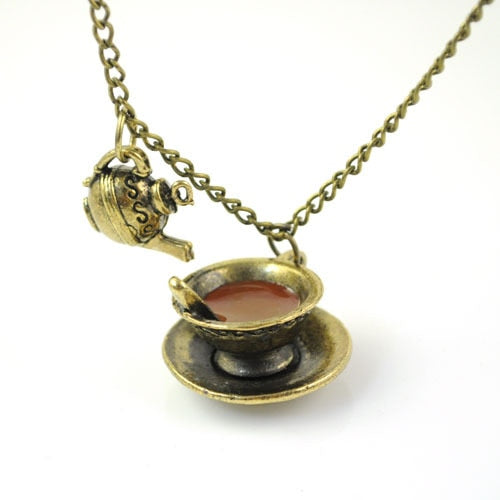 Antique bronze plated cute coffee cup necklace-Sunshine's Boutique & Gifts