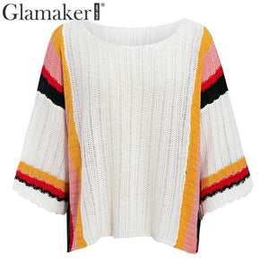Casual crochet striped knitted sweater